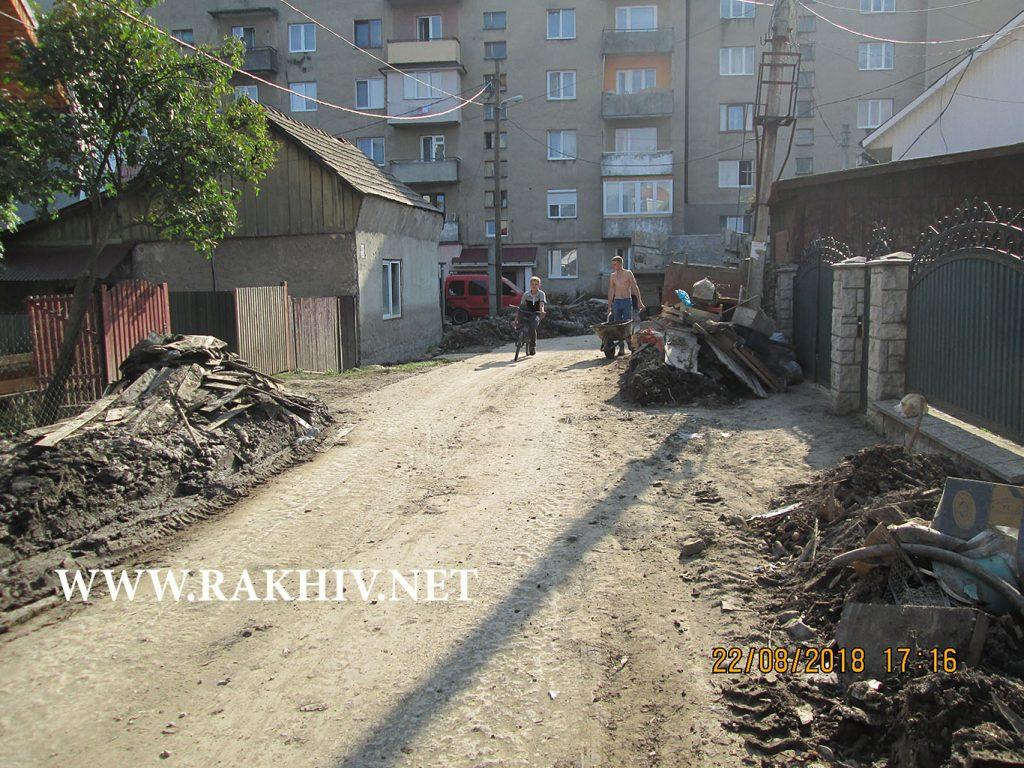 Рахів вул.Попенка намул та деревина на вулиці